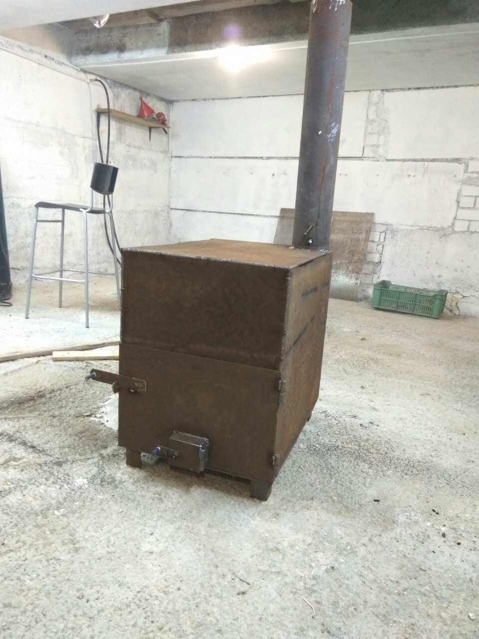 Дровяная печка для гаража своими руками