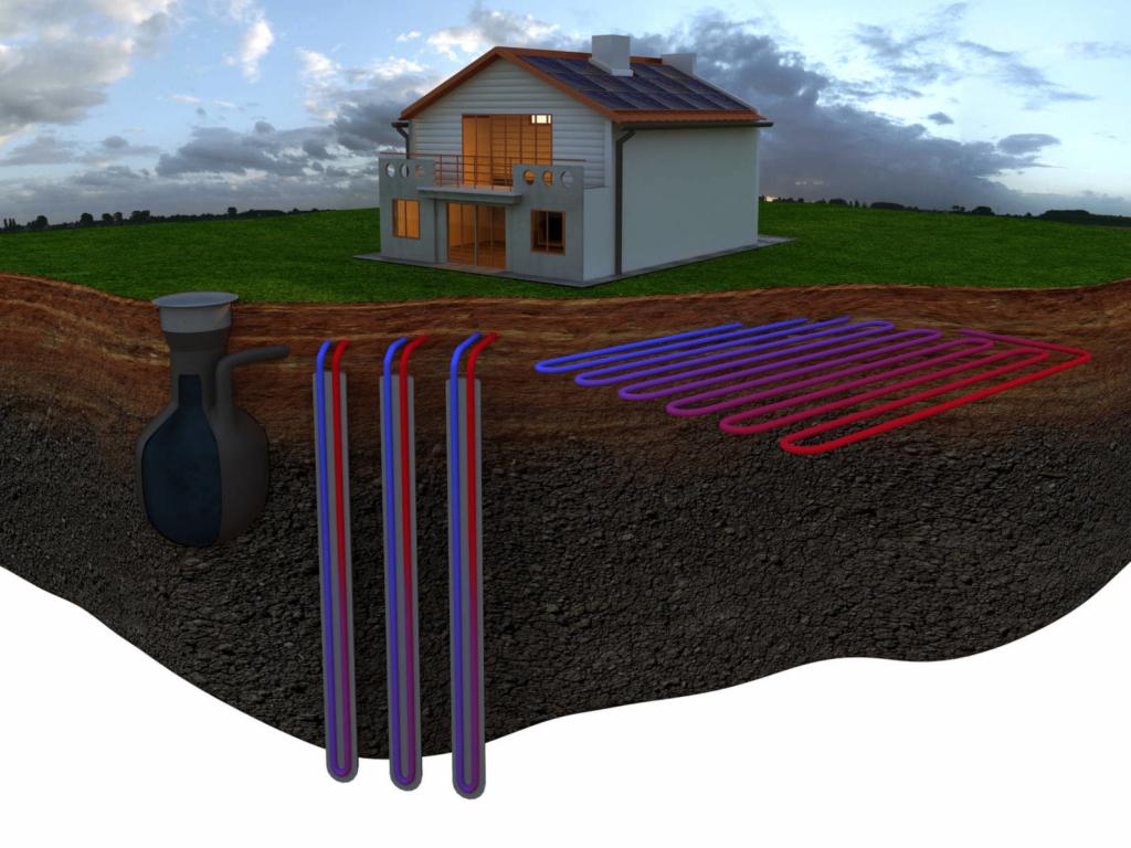 Геотермальное отопление односемейного жилого дома