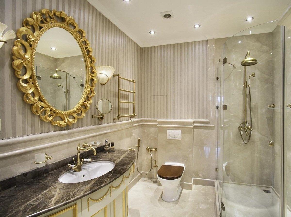 Ванная в классическом стиле: фото дизайна ванной комнаты в стиле современной классики