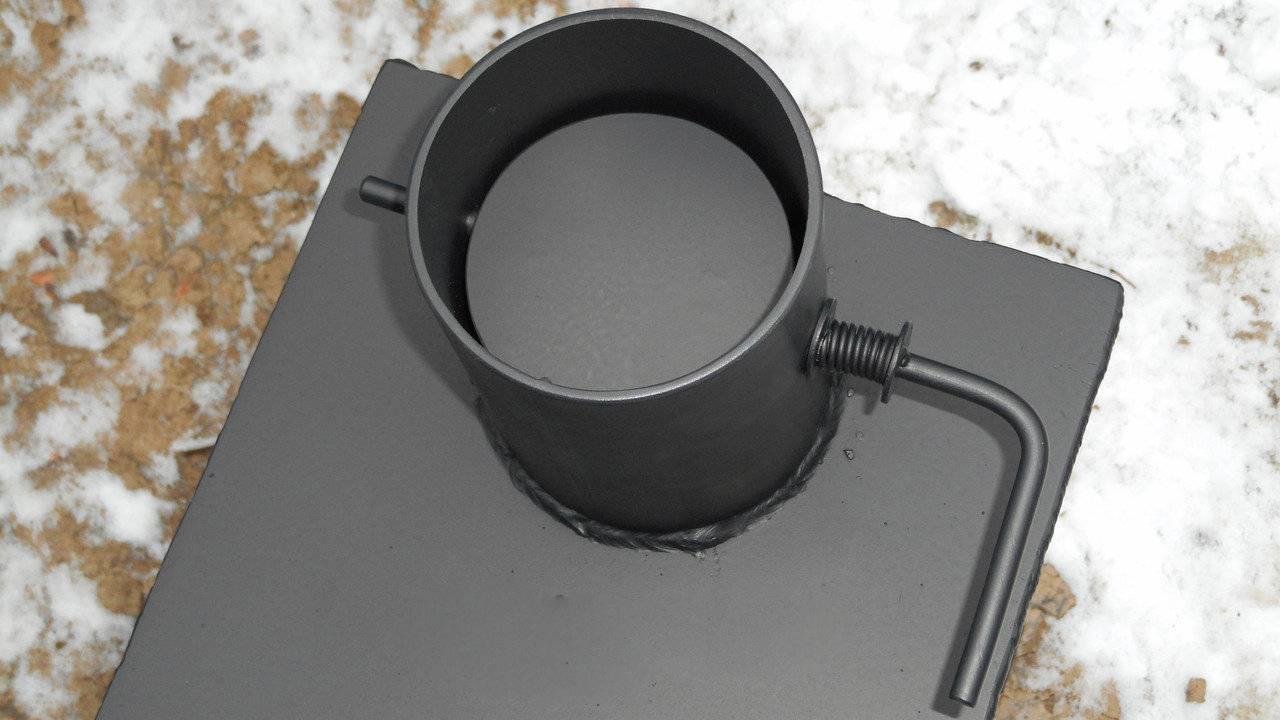 Поворотный шибер для круглой трубы и каменного дымохода