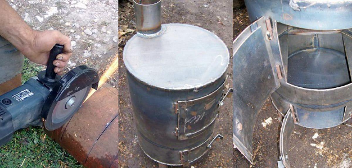 Дровяная печь длительного горения из бочки