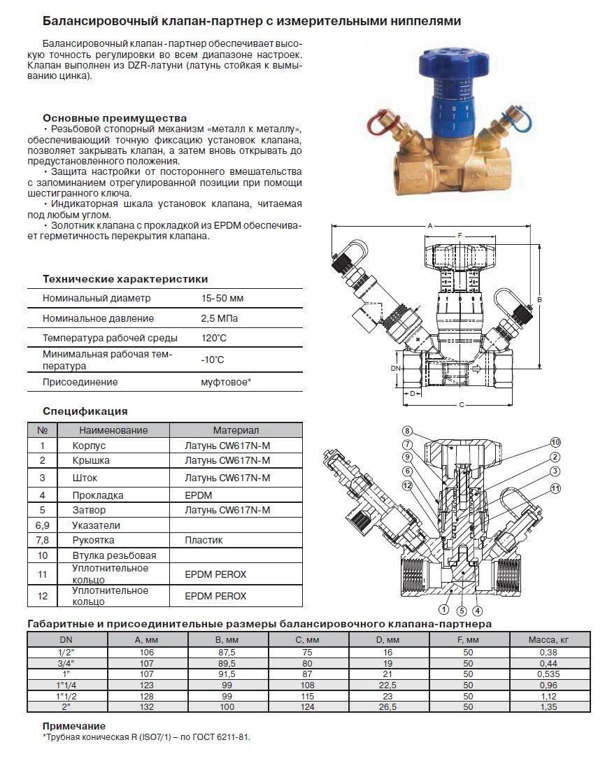 Балансировочный клапан для системы отопления - принцип работы и цена