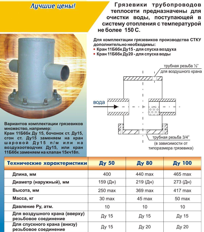 Грязевики для систем отопления – конструкция устройства и схема подключения