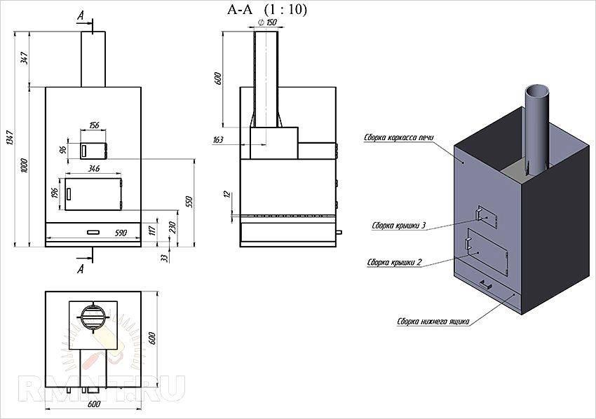 Металлическая печь для бани: как сделать своими руками, чертежи, размеры и схема установки