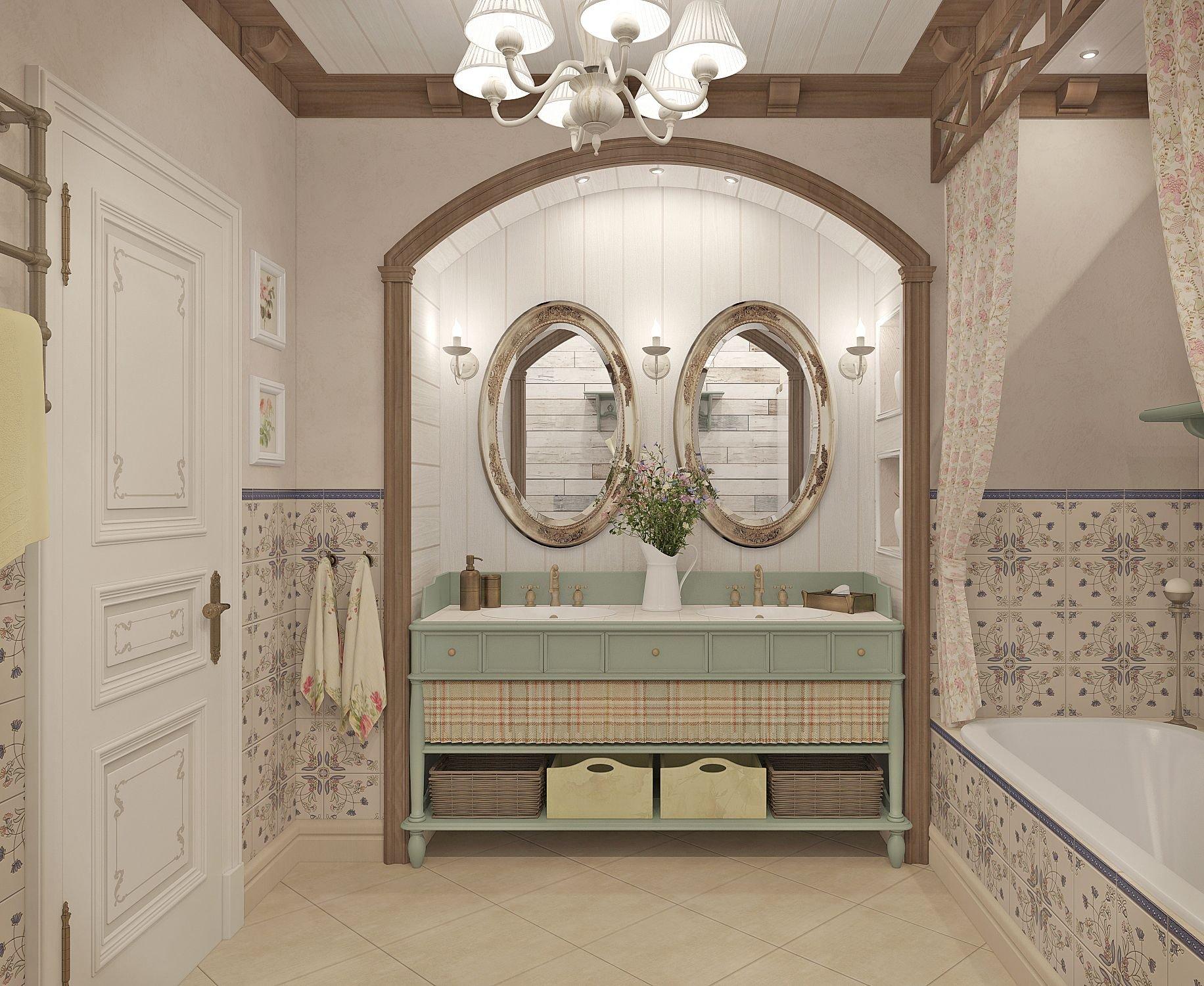 Ванная в стиле прованс (81 фото):  выбор мебели и аксессуаров, дизайн интерьера маленькой комнаты