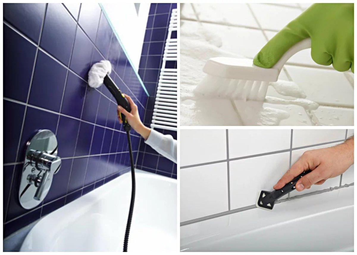Очищение плитки в ванной при помощи профессиональных и народных средств: инструкция