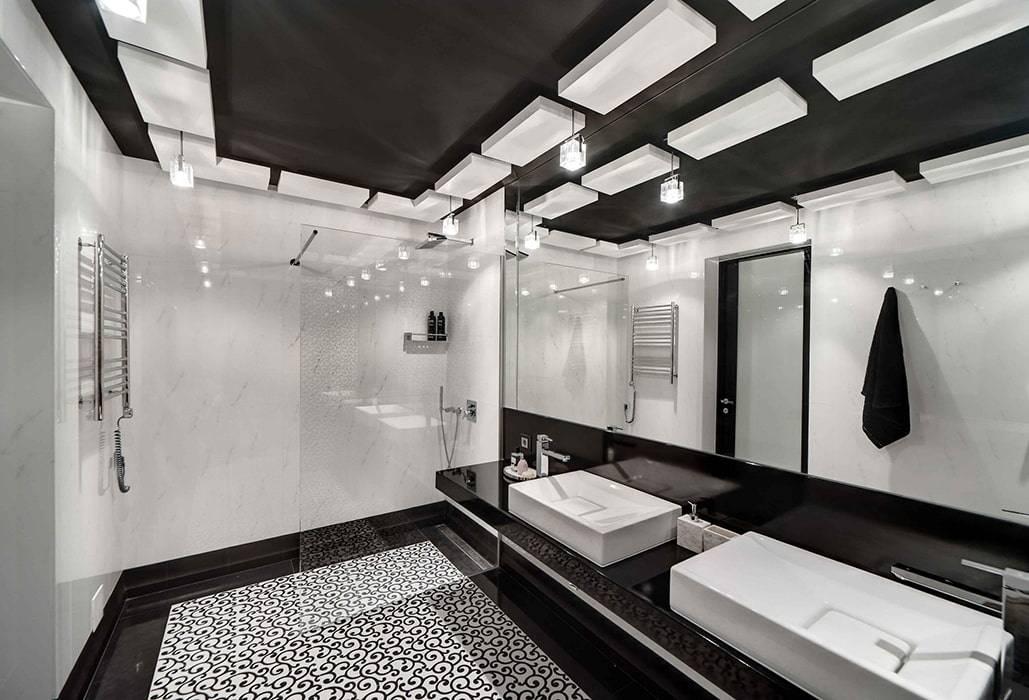 Дизайн ванны в черно-белом цвете (14 фото)