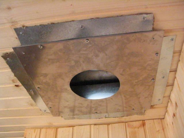 Быстрый способ сделать дымоход через потолок в бане