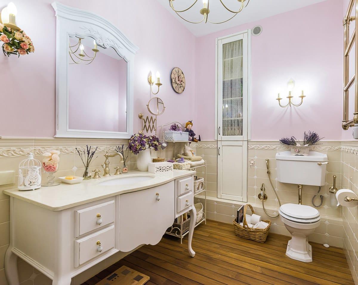 Ванная в стиле прованс: особенности стиля, отделочные материалы для стен, дизайн и интерьер санузла, мебель и плитка для комнаты