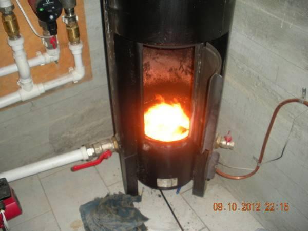 Печь на отработке с водяным контуром