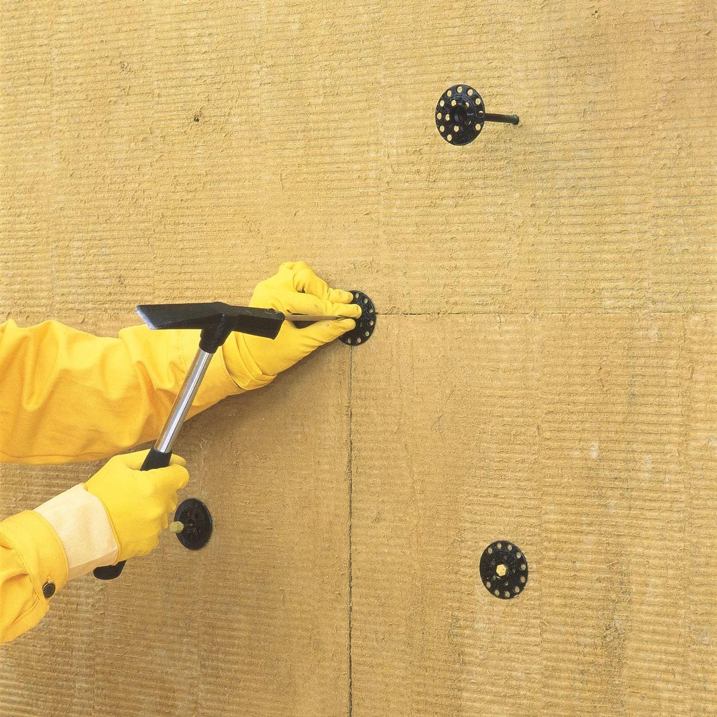 Крепление утеплителя к стене: как крепить грибками