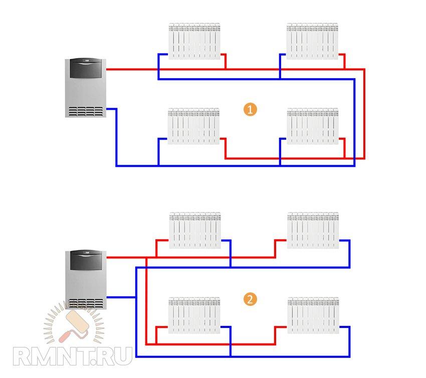 Двухтрубная система отопления, разные схемы схема тихельмана
