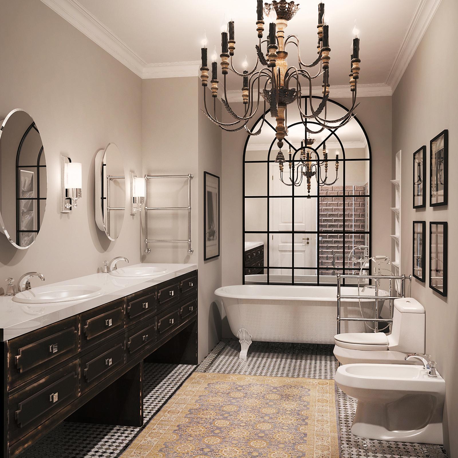 Ванна в классическом стиле: дизайн, варианты обустройства (+ фото)