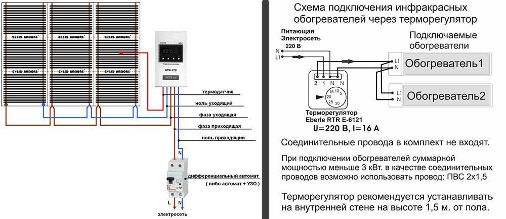 Как подключить терморегулятор к инфракрасному обогревателю - инструкция со схемами, ballu и другие производители