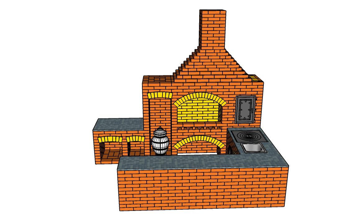 Фото барбекю из кирпича мангалов с казаном: проект кирпичной печи своими руками, схема кладки, сколько нужно, порядовка, раскладка