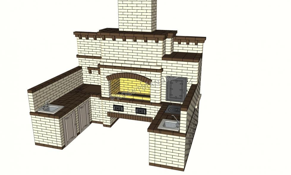 Барбекю комплекс из кирпича с коптильней, мангалом и казаном: проекты, чертежи, фотографии – пошаговая инструкция строительства