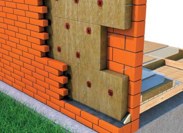 Стена наружная трехслойная каменная с облицовкой из кирпича