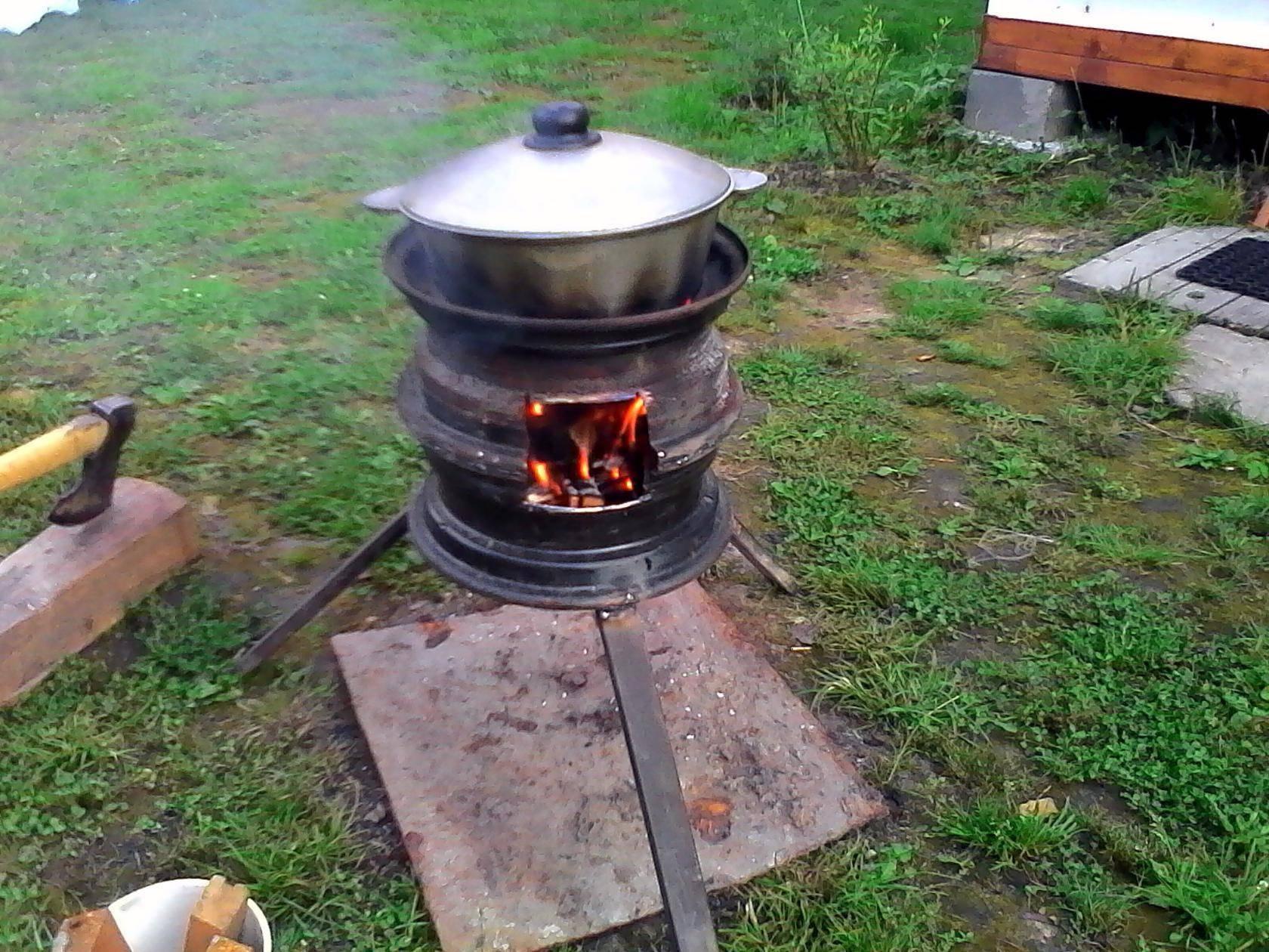 Мангал из дисков автомобиля (подставка под казан, печь барбекю, гриль): сборка пошагово + фото идей жаровень из колес
