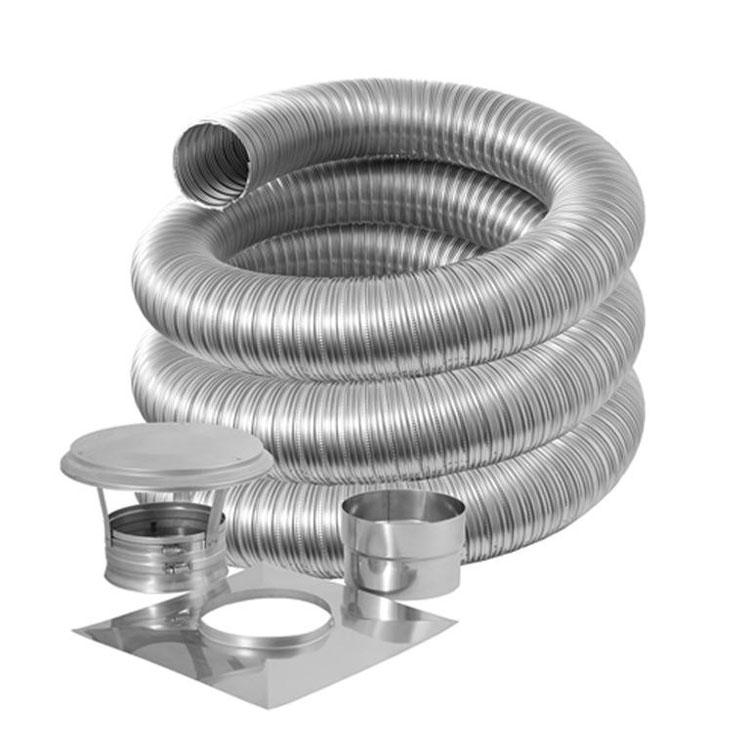Труба гофрированная для дымохода: алюминиевая гофротруба из нержавейки высокотемпературная, стальная нержавеющая гофра для печной трубы