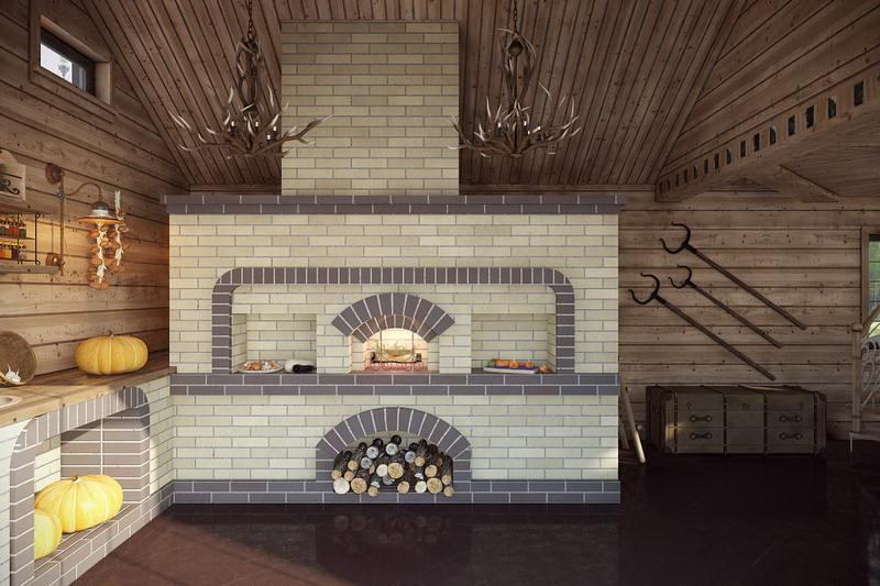 Печь в интерьере гостиной и кухни загородного дома, дизайн кирпичной или чугунной модели, русская и буржуйка