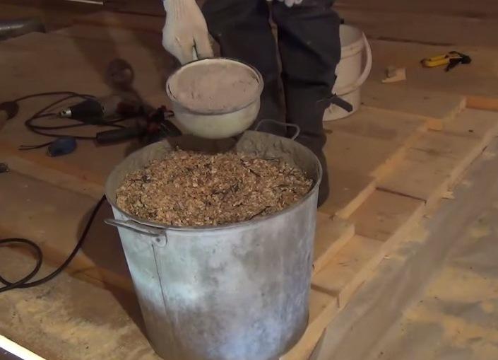 Утепление потолка бани глиной с опилками своими руками: пропорции
