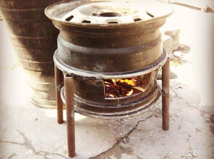 Печка из колесных дисков своими руками