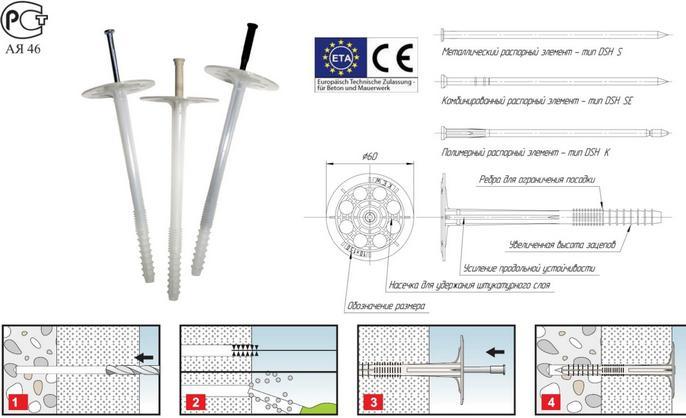 Дюбель фасадный: как выбрать изделия для крепления утеплителя к стене, инструкция, видео и фото