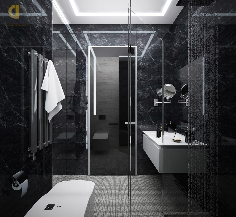 Черно-белая ванная комната (35 фото): маленькие помещения с мозаикой в красно-черных тонах, стены и пол душевой с белым цветом в квартирах