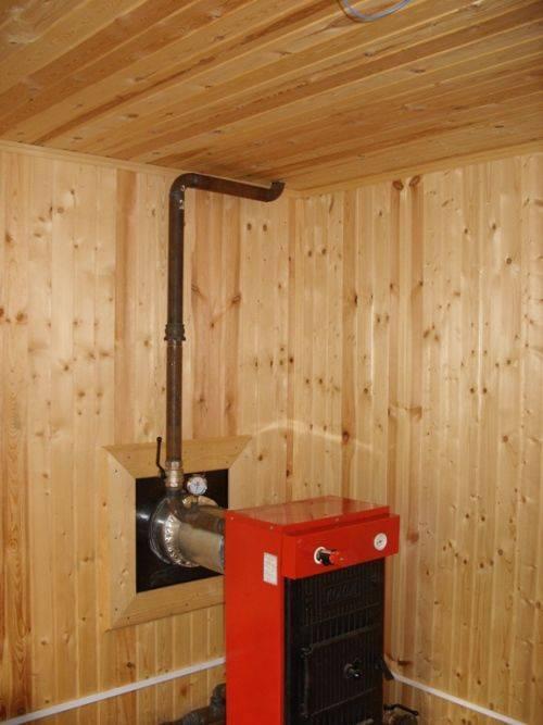 Установка дровяного котла в деревянном доме