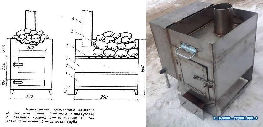 Как сделать печь для бани из металла