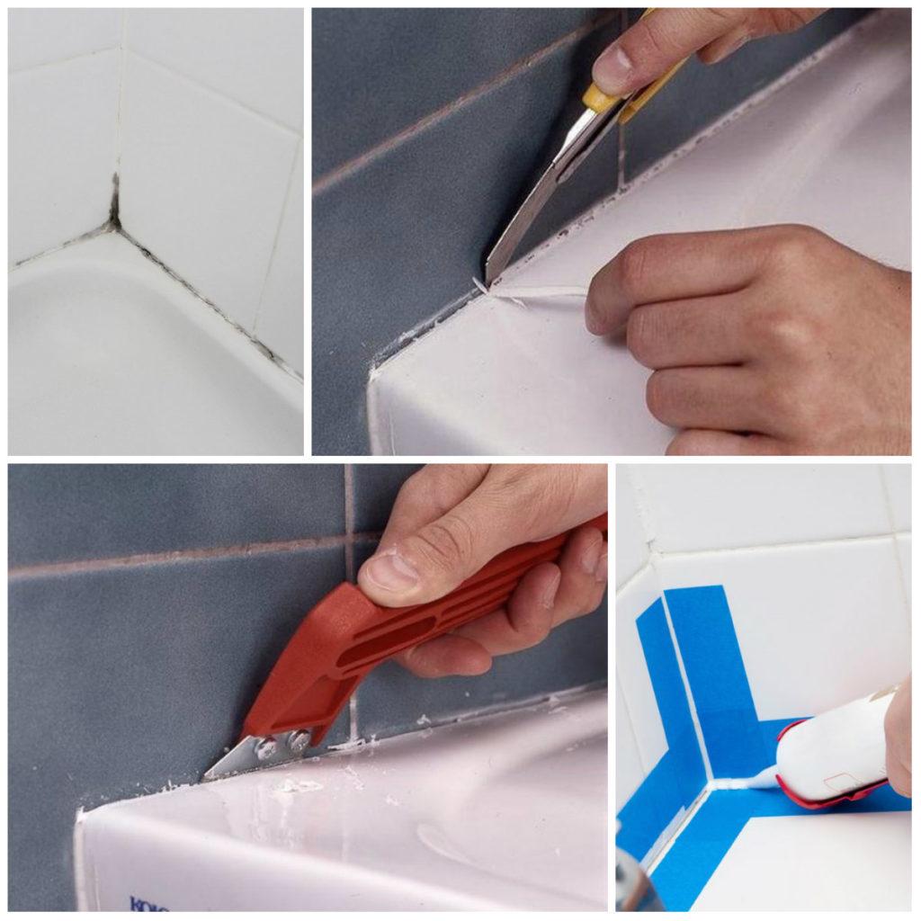 Как убрать старый герметик в ванной? как удалить присохшие остатки с плитки, как очистить и чем отмыть, как быстро снять герметик в домашних условиях