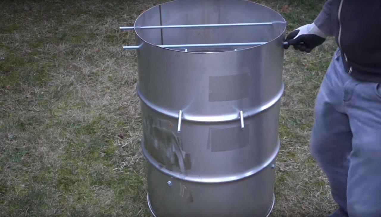 Изготовление коптильни из бочки 200 литров горячего копчения своими руками