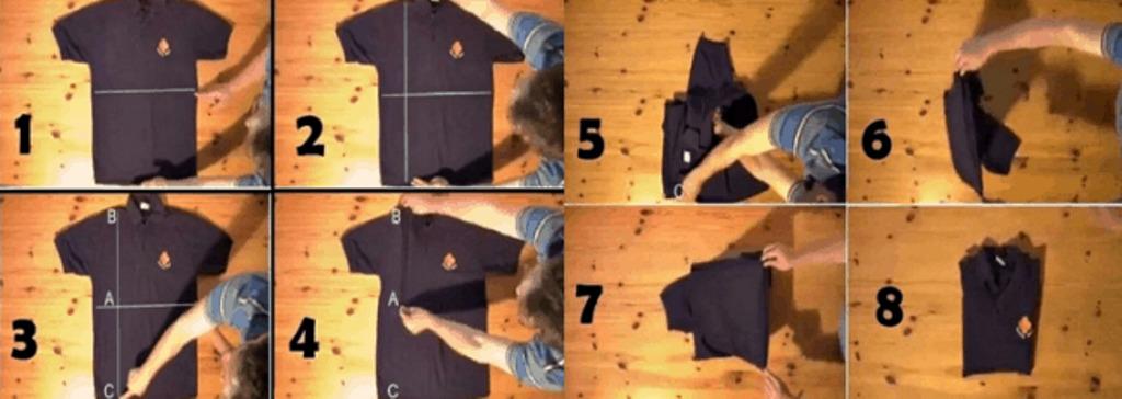 Как складывать футболки и майки