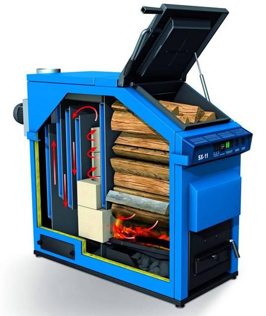 Котел твердотопливный длительного горения на дровах для отопления частного дома