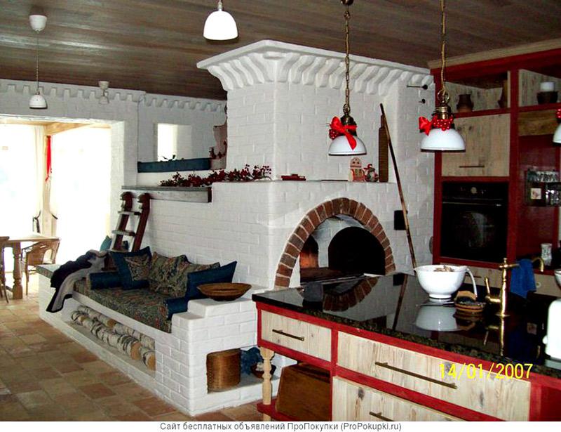 Печь с лежанкой из кирпича для дома и дачи