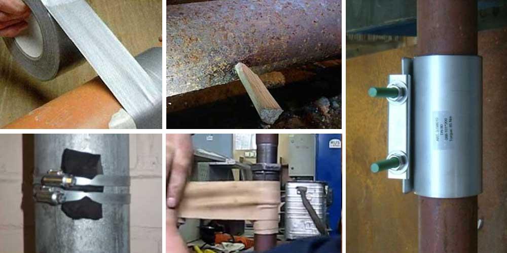 Как устранить течь в трубе отопления: механическая заделка дырки и химическая герметизация протечки
