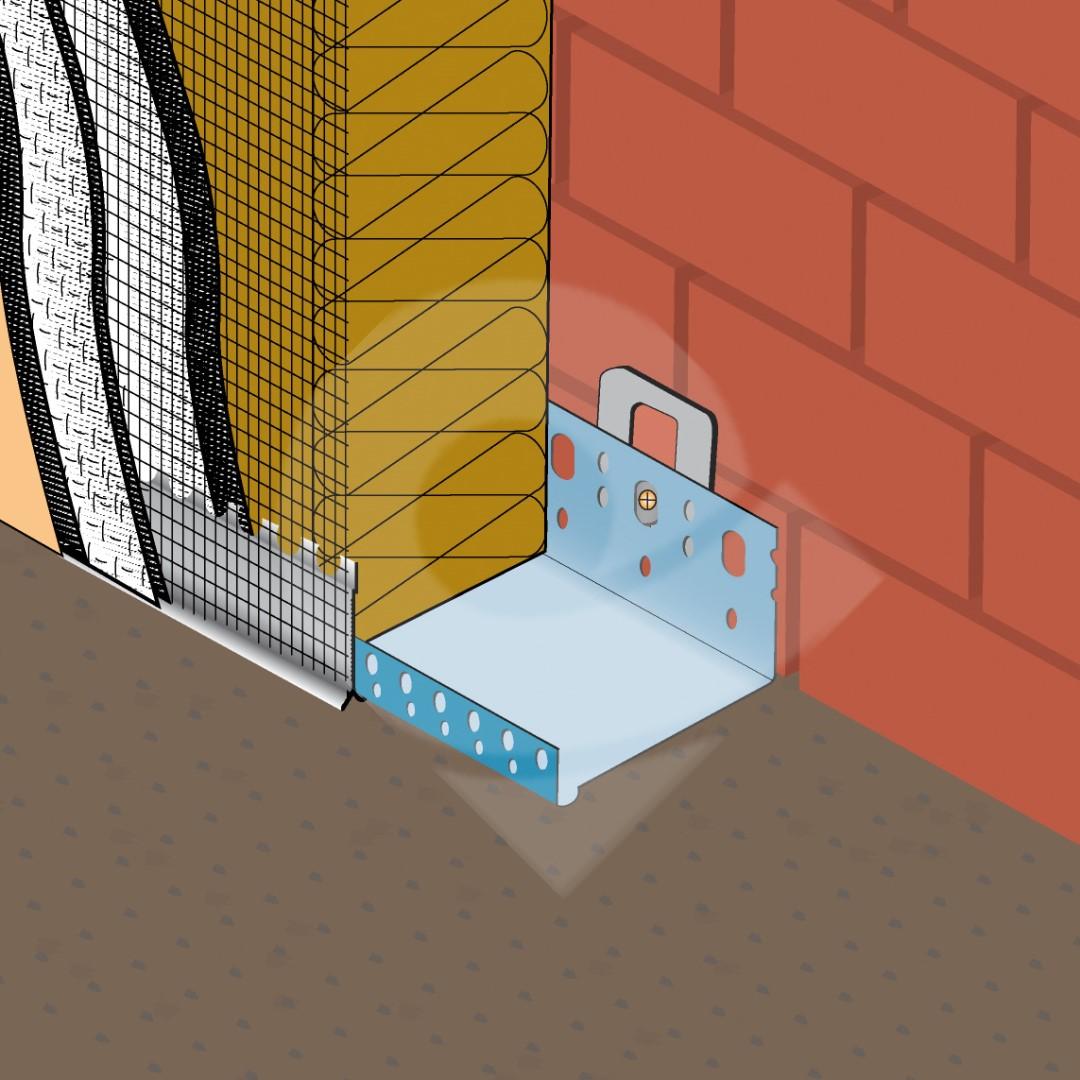 Цокольный металлический профиль для систем утепления фасадов