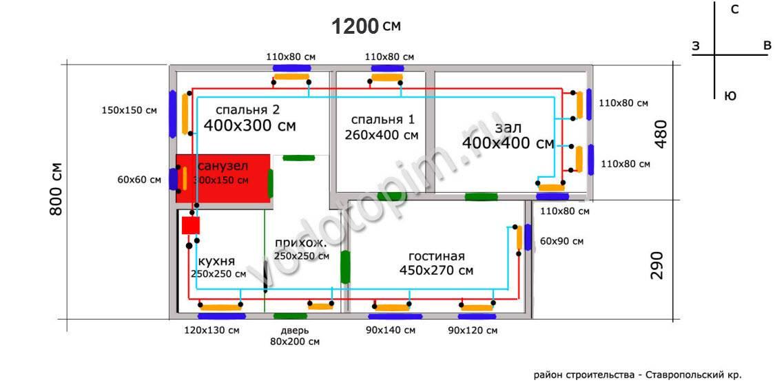 Расчет радиаторов отопления, количества секций, теплоотдачи, мощность