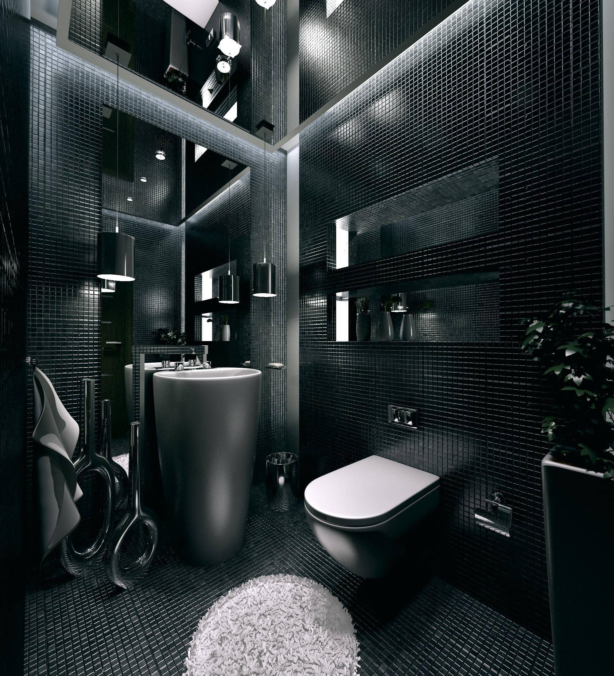 Дизайн ванной комнаты в черно-белых тонах: 14 фото