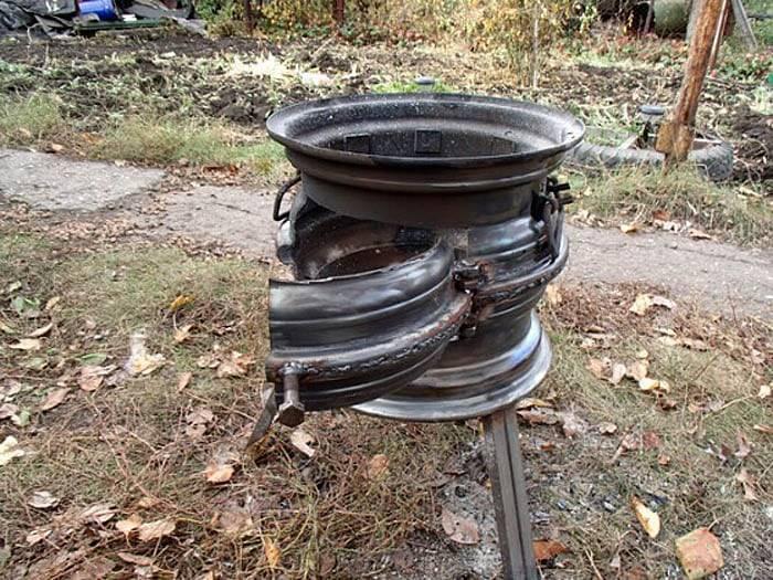 Печь из дисков автомобиля для казана, как сделать своими руками