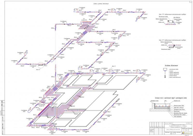 Аксонометрическая схема системы отопления или вентиляции