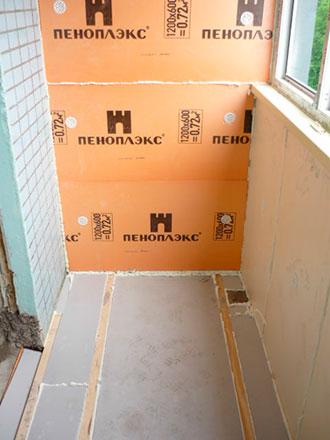 Утепление пола на балконе пеноплексом: характеристики материала + инструкция по монтажу
