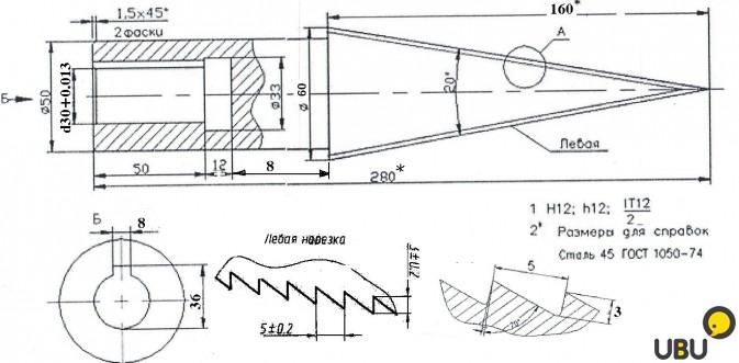Чертеж и инструкция для изготовления своими руками винтового дровокола