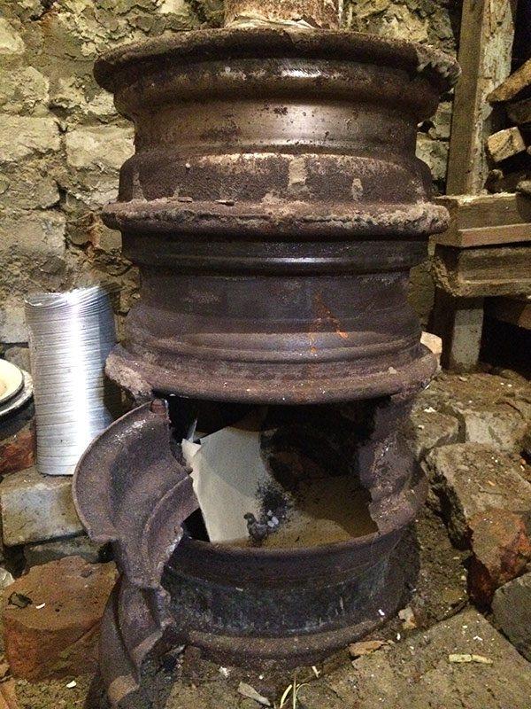 Печка из автомобильных дисков своими руками, печь для бани и дачи из колесного обода грузового автомобиля камаз, чертежи, фото