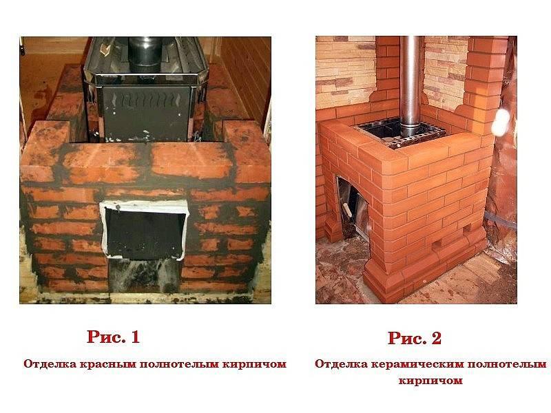 Как обложить железную печь кирпичом в бане правильно своими руками
