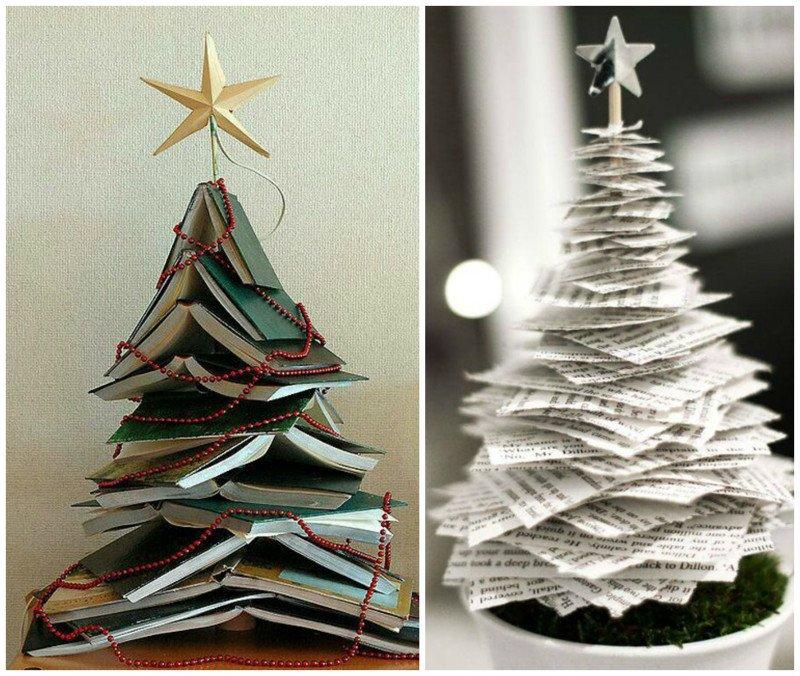 Самодельные новогодние елки для дома и сада из подручных материалов