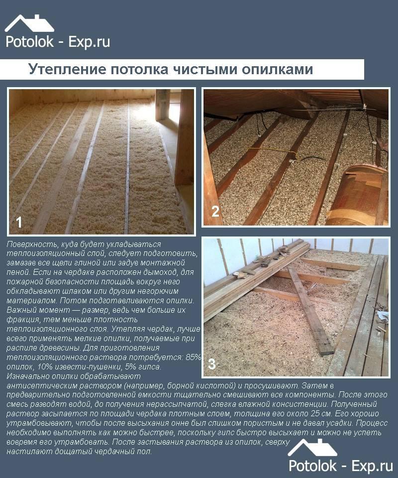 Утепление чердака опилками, информация о материале и процесс монтажа