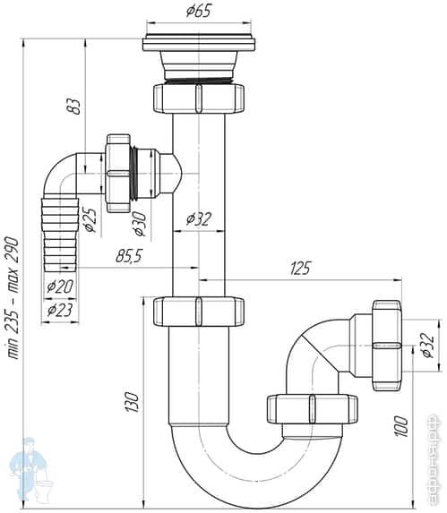 Размеры сифона для раковины: как правильно подобрать размер и другие параметры сифона