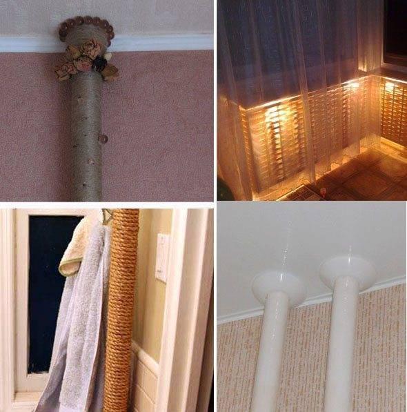 Как задекорировать трубу отопления в комнате, квартире, частном доме? 30 вариантов спрятать трубу отопления