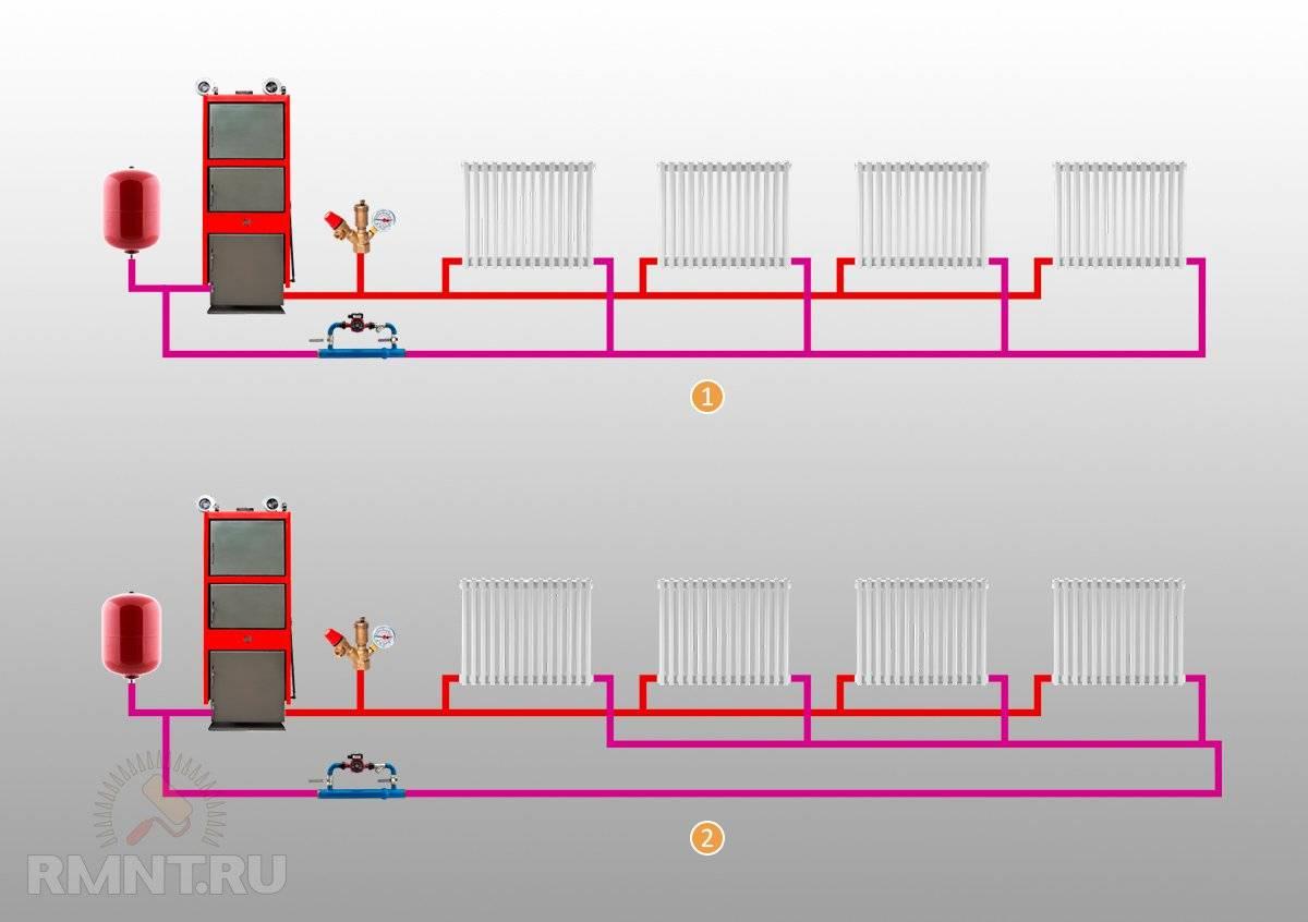 Двухтрубная система отопления двухэтажного дома: схемы и виды